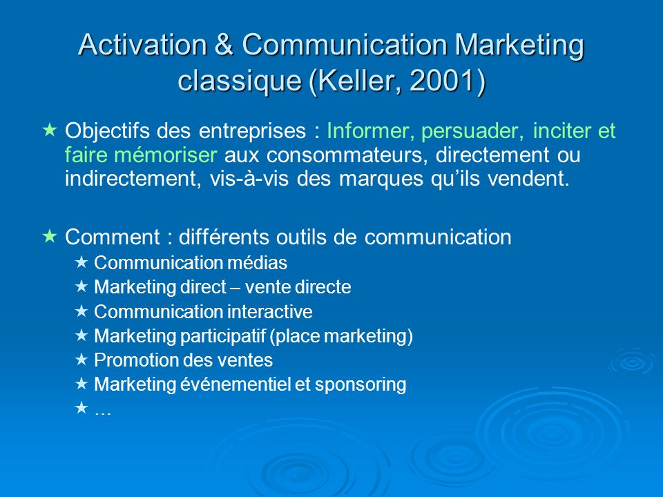 Activation & Communication Marketing classique (Keller, 2001)