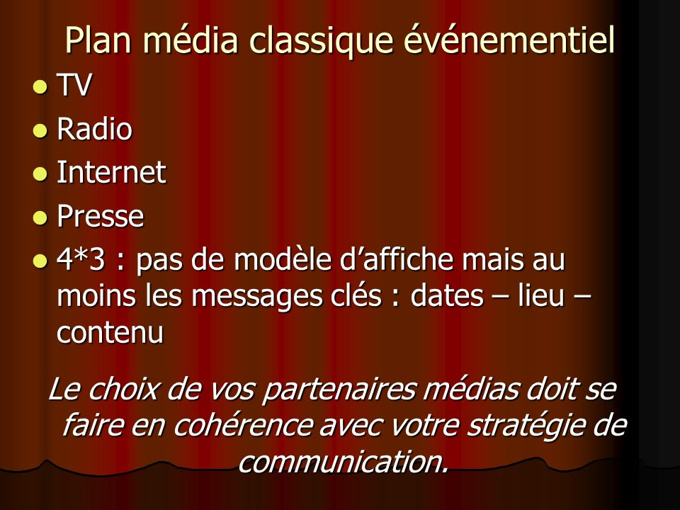 Plan média classique événementiel