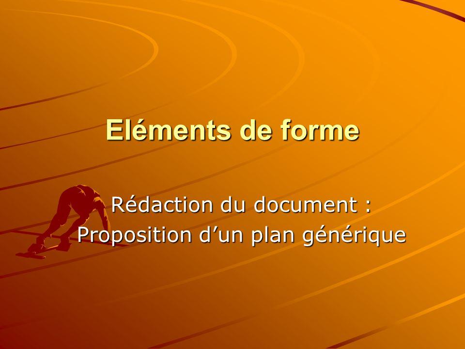 Rédaction du document : Proposition d'un plan générique