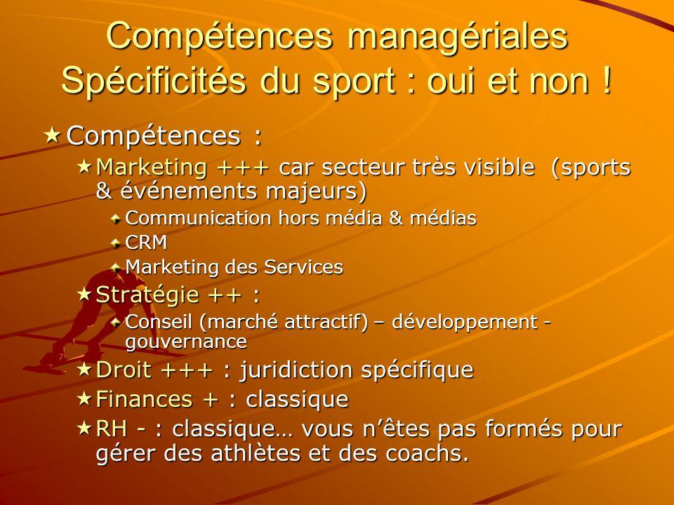 Compétences managériales Spécificités du sport : oui et non !