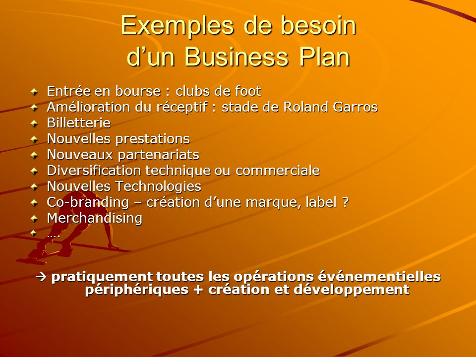 Exemples de besoin d'un Business Plan