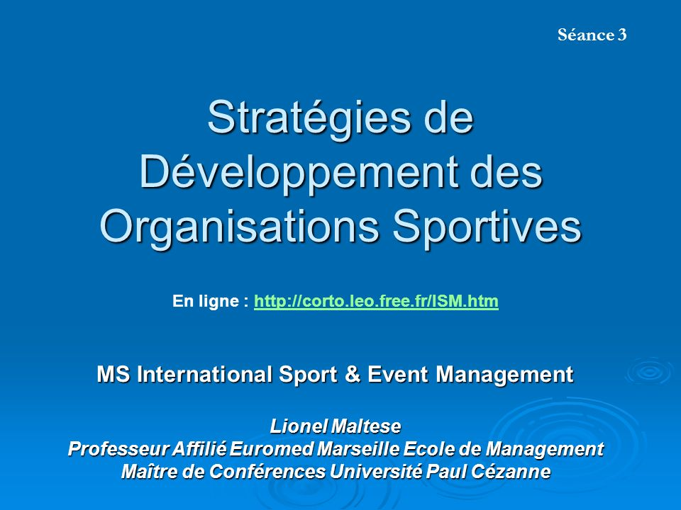 Stratégies de Développement des Organisations Sportives
