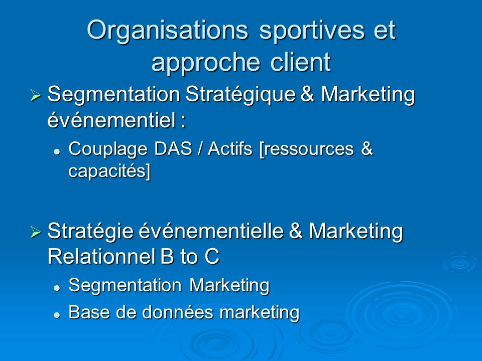 Organisations sportives et approche client