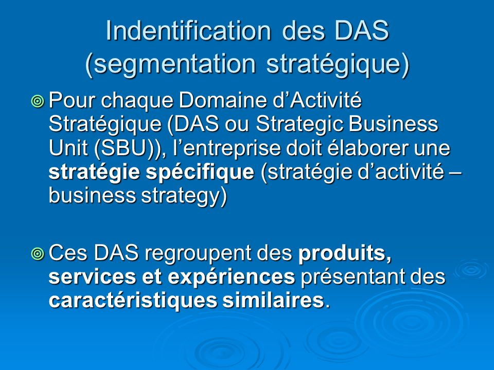 Indentification des DAS (segmentation stratégique)