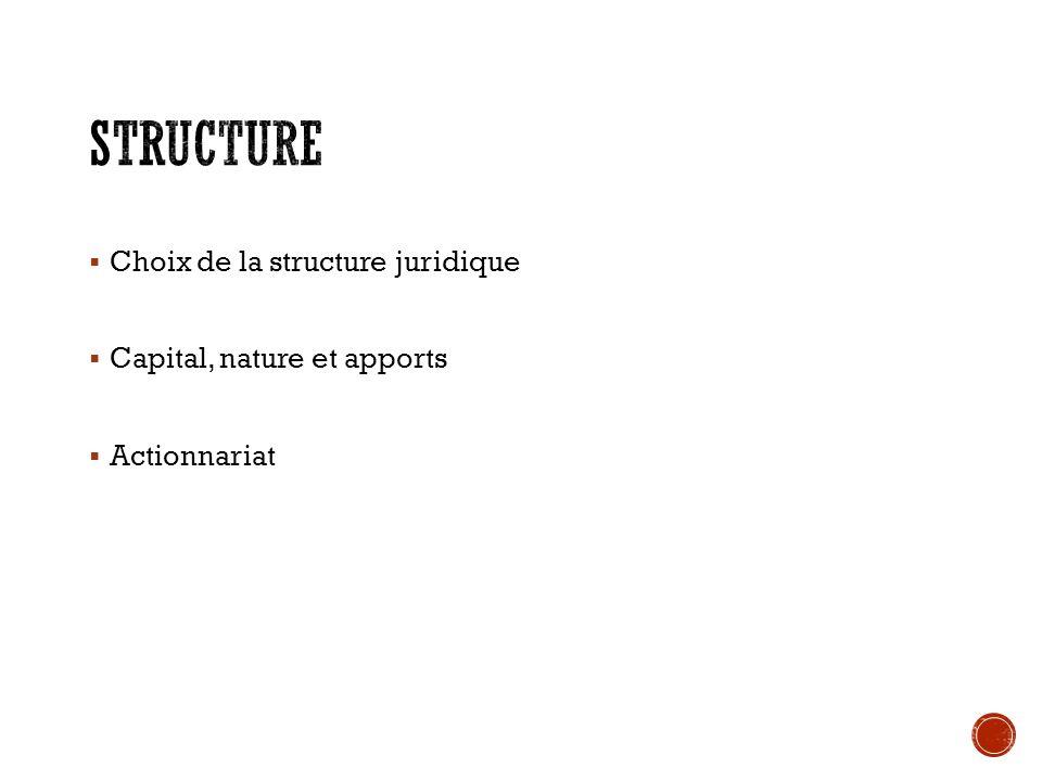 Structure Choix de la structure juridique Capital, nature et apports