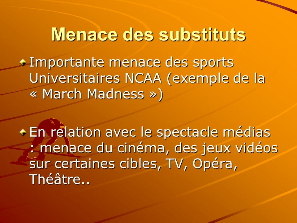 Menace des substituts Importante menace des sports Universitaires NCAA (exemple de la « March Madness »)