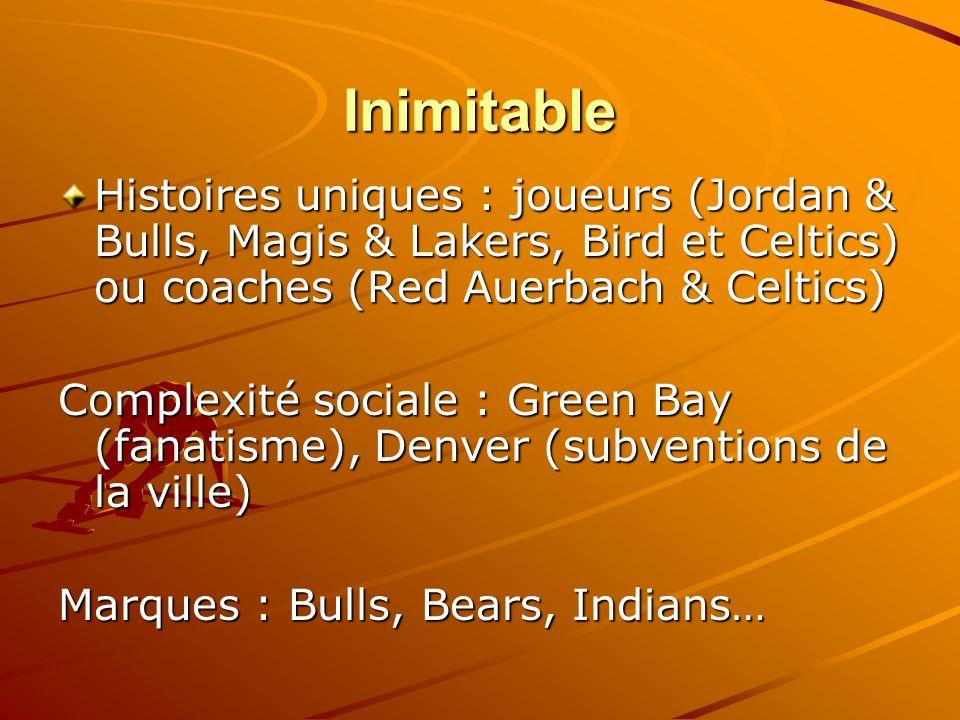 Inimitable Histoires uniques : joueurs (Jordan & Bulls, Magis & Lakers, Bird et Celtics) ou coaches (Red Auerbach & Celtics)