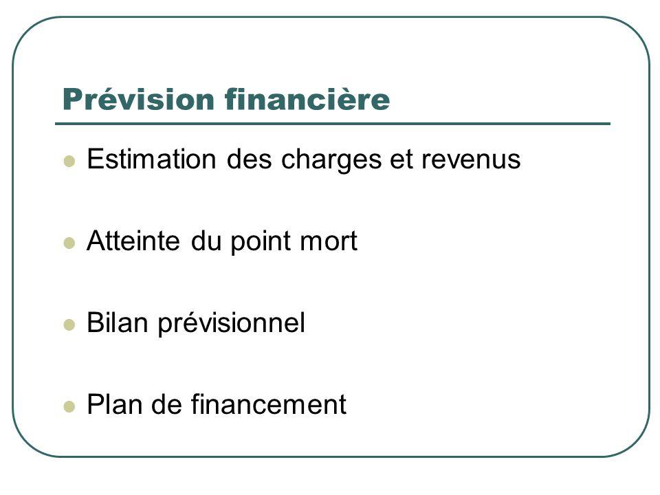 Prévision financière Estimation des charges et revenus