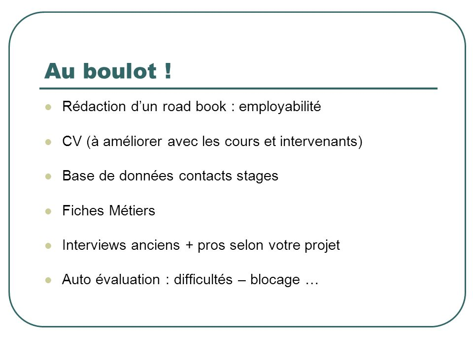 Au boulot ! Rédaction d'un road book : employabilité