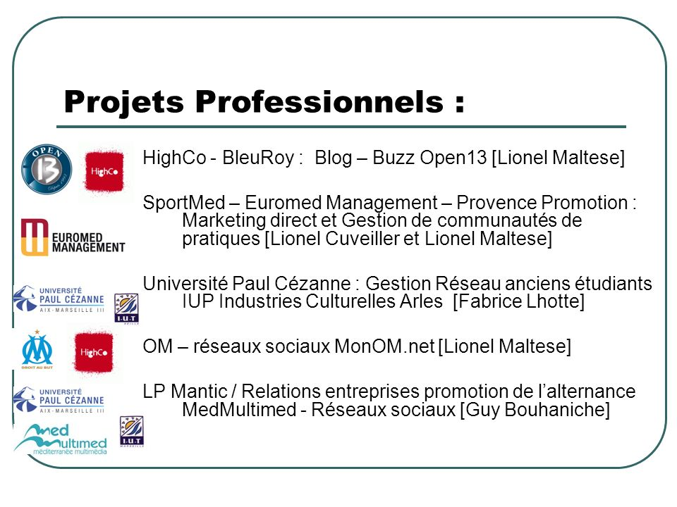 Projets Professionnels :