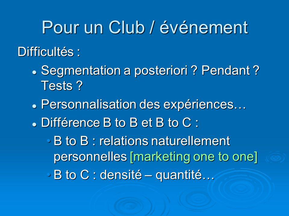 Pour un Club / événement