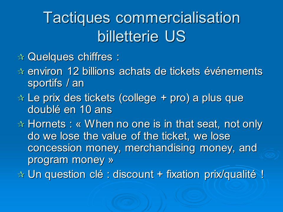 Tactiques commercialisation billetterie US
