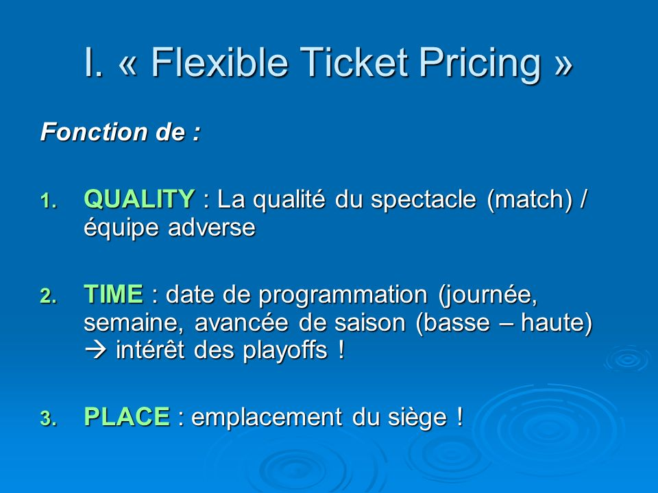 I. « Flexible Ticket Pricing »