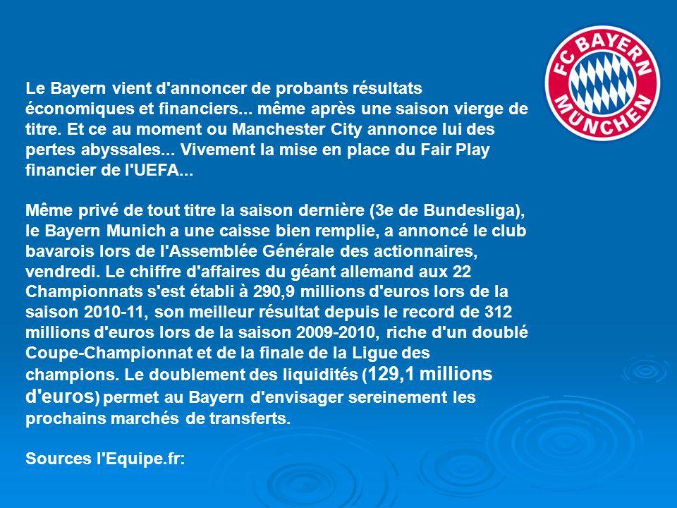 Le Bayern vient d annoncer de probants résultats économiques et financiers... même après une saison vierge de titre. Et ce au moment ou Manchester City annonce lui des pertes abyssales... Vivement la mise en place du Fair Play financier de l UEFA...