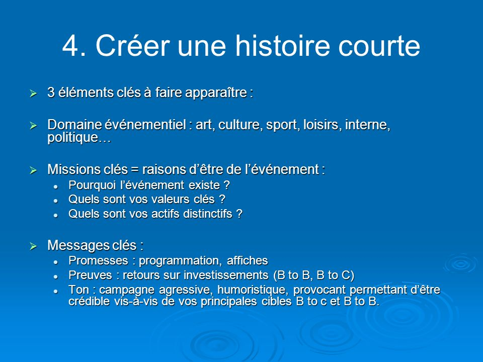 4. Créer une histoire courte