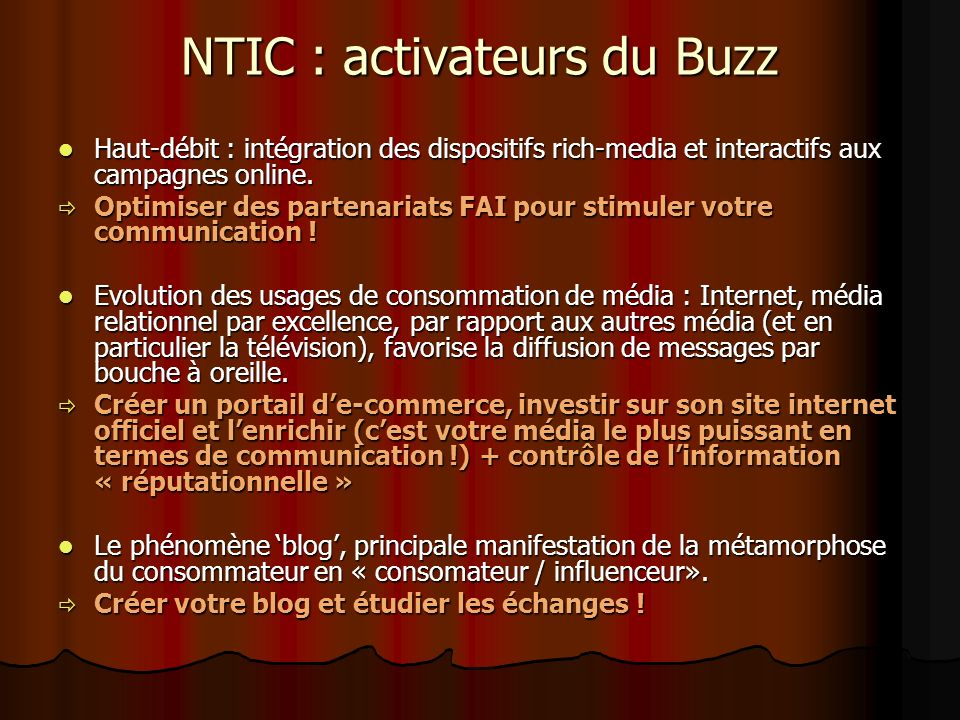 NTIC : activateurs du Buzz