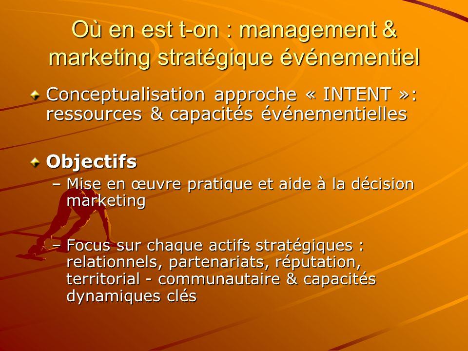 Où en est t-on : management & marketing stratégique événementiel