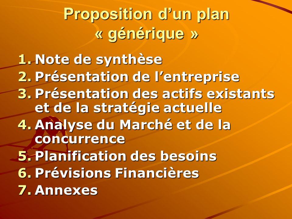 Proposition d'un plan « générique »