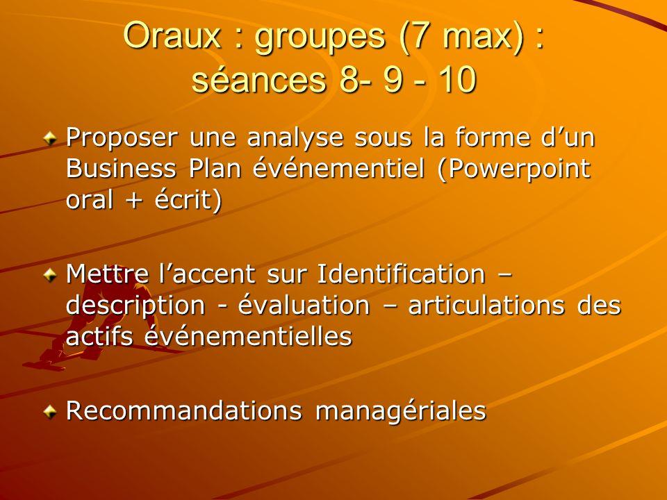 Oraux : groupes (7 max) : séances 8- 9 - 10