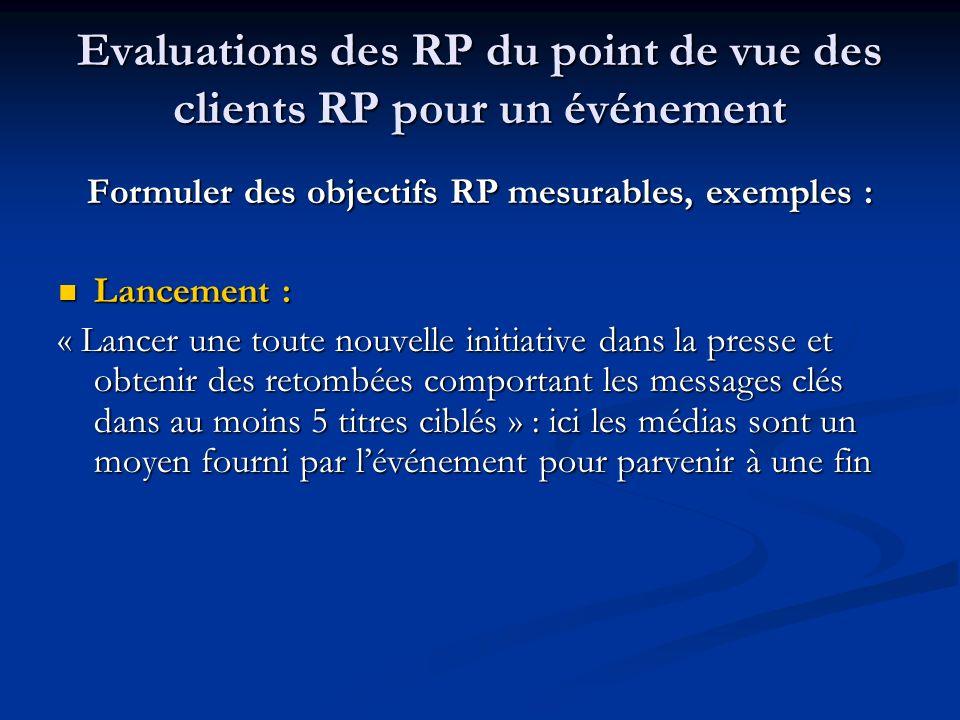 Evaluations des RP du point de vue des clients RP pour un événement