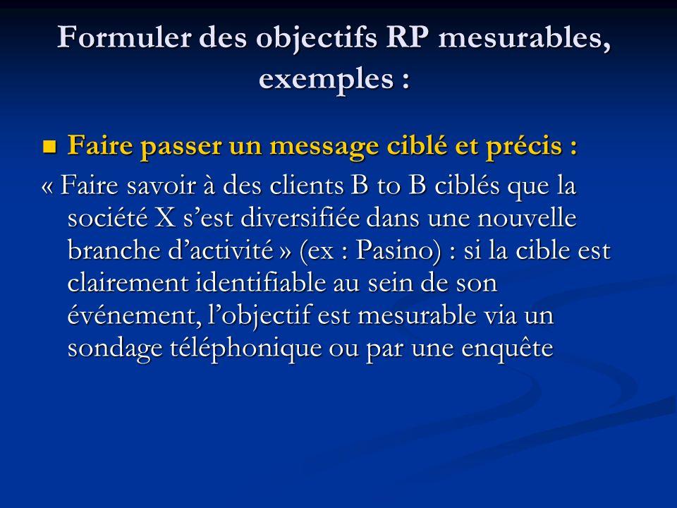 Formuler des objectifs RP mesurables, exemples :