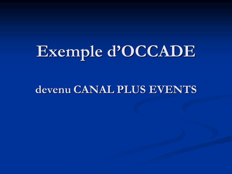 Exemple d'OCCADE devenu CANAL PLUS EVENTS