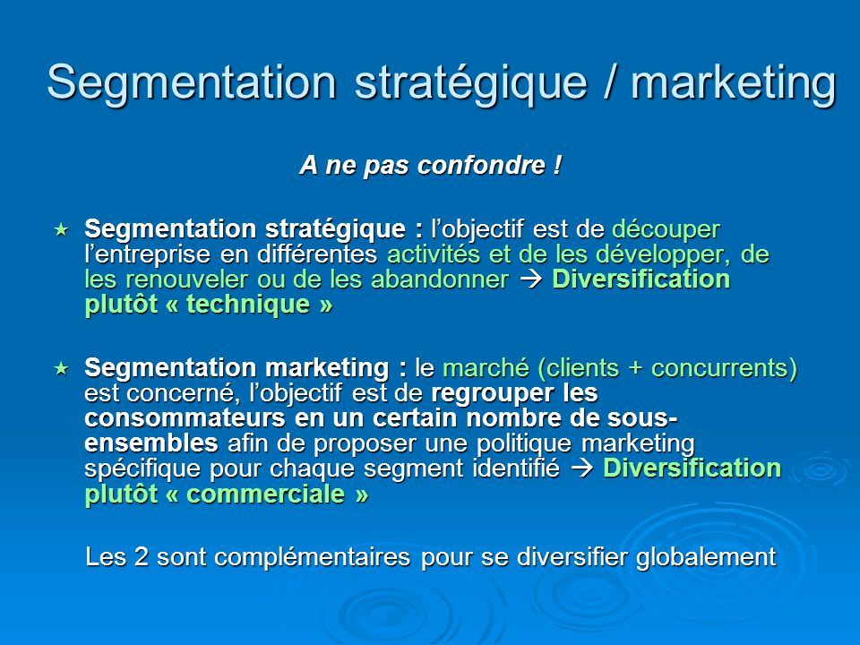 Segmentation stratégique / marketing