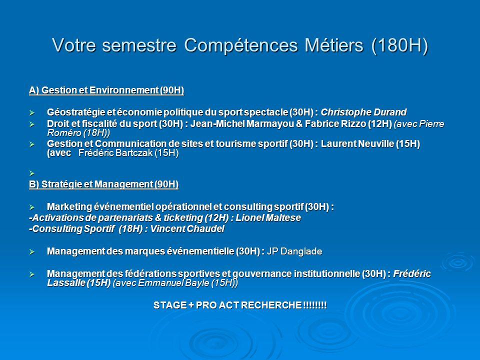 Votre semestre Compétences Métiers (180H)