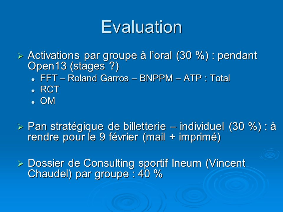 Evaluation Activations par groupe à l'oral (30 %) : pendant Open13 (stages ) FFT – Roland Garros – BNPPM – ATP : Total.