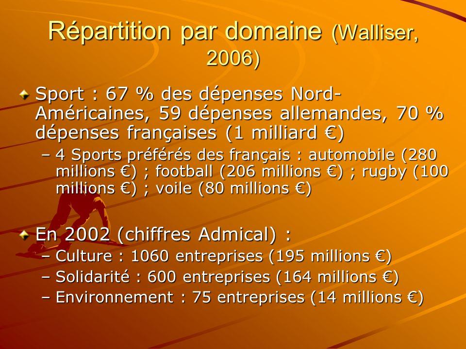 Répartition par domaine (Walliser, 2006)