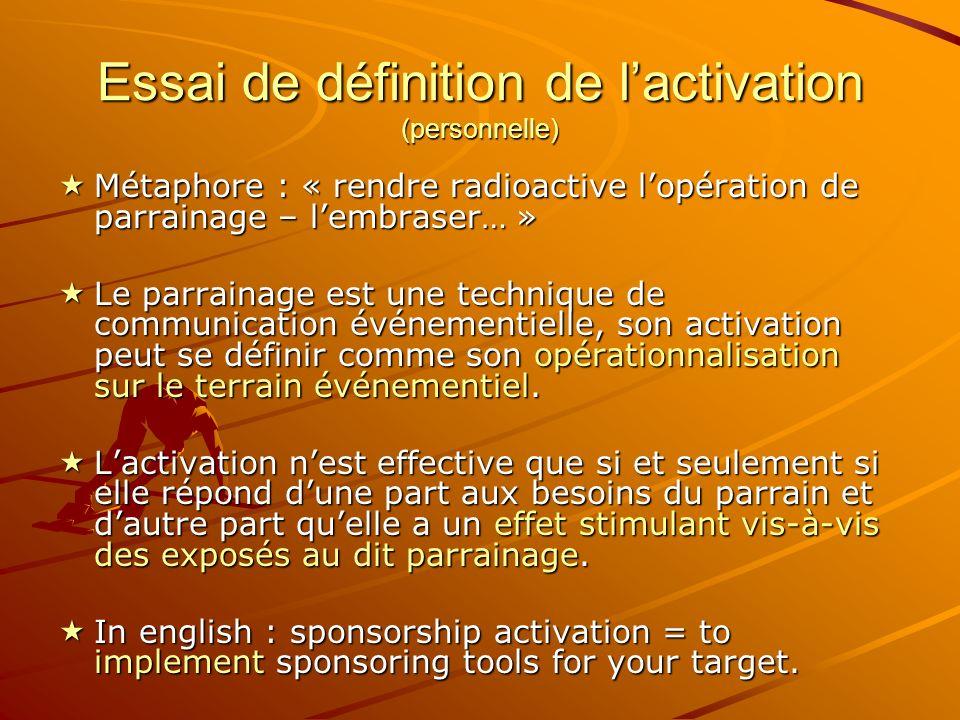 Essai de définition de l'activation (personnelle)