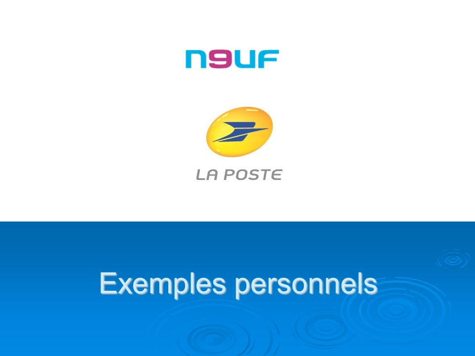 Exemples personnels