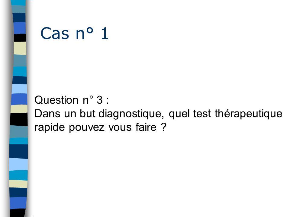 Cas n° 1 Question n° 3 : Dans un but diagnostique, quel test thérapeutique rapide pouvez vous faire