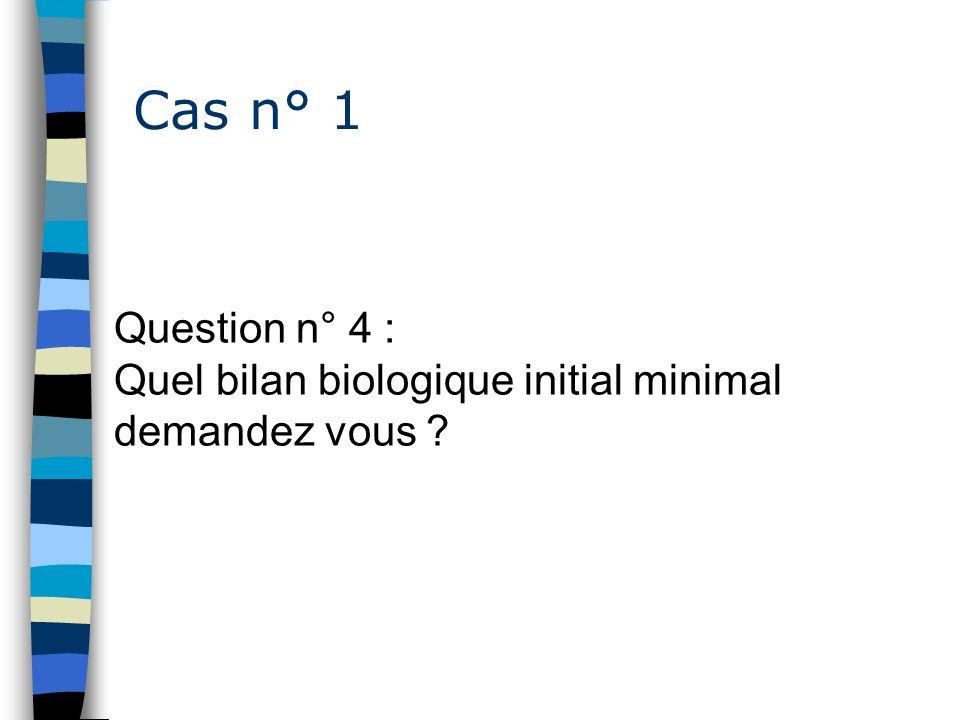 Cas n° 1 Question n° 4 : Quel bilan biologique initial minimal demandez vous