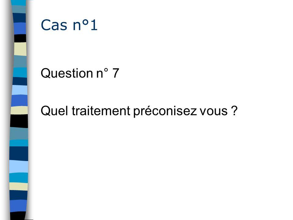 Cas n°1 Question n° 7 Quel traitement préconisez vous