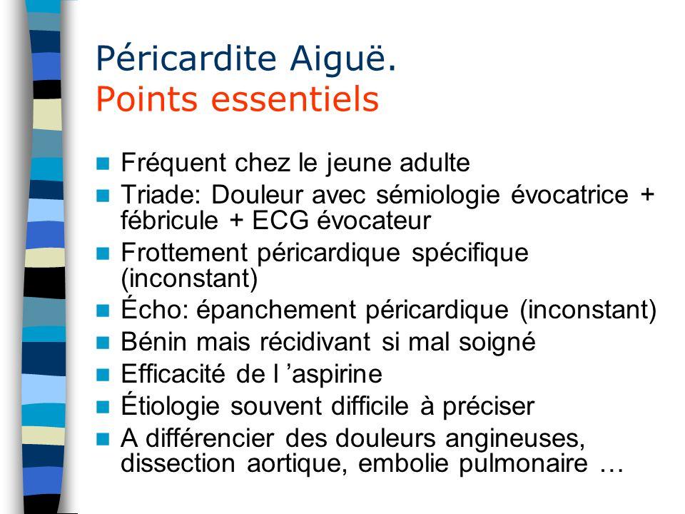 Péricardite Aiguë. Points essentiels
