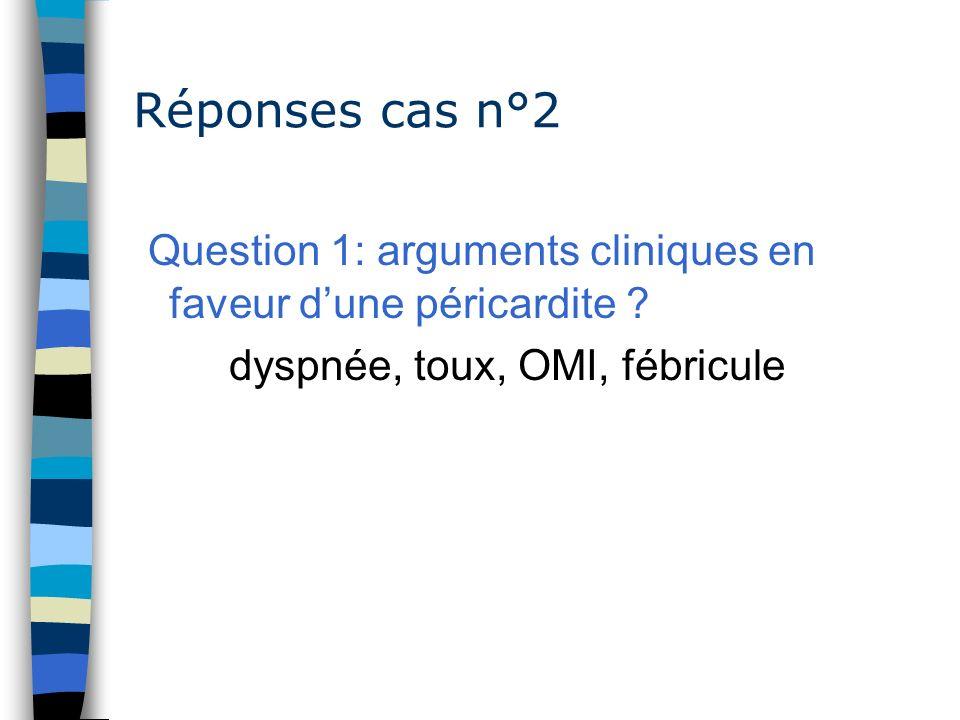 Question 1: arguments cliniques en faveur d'une péricardite