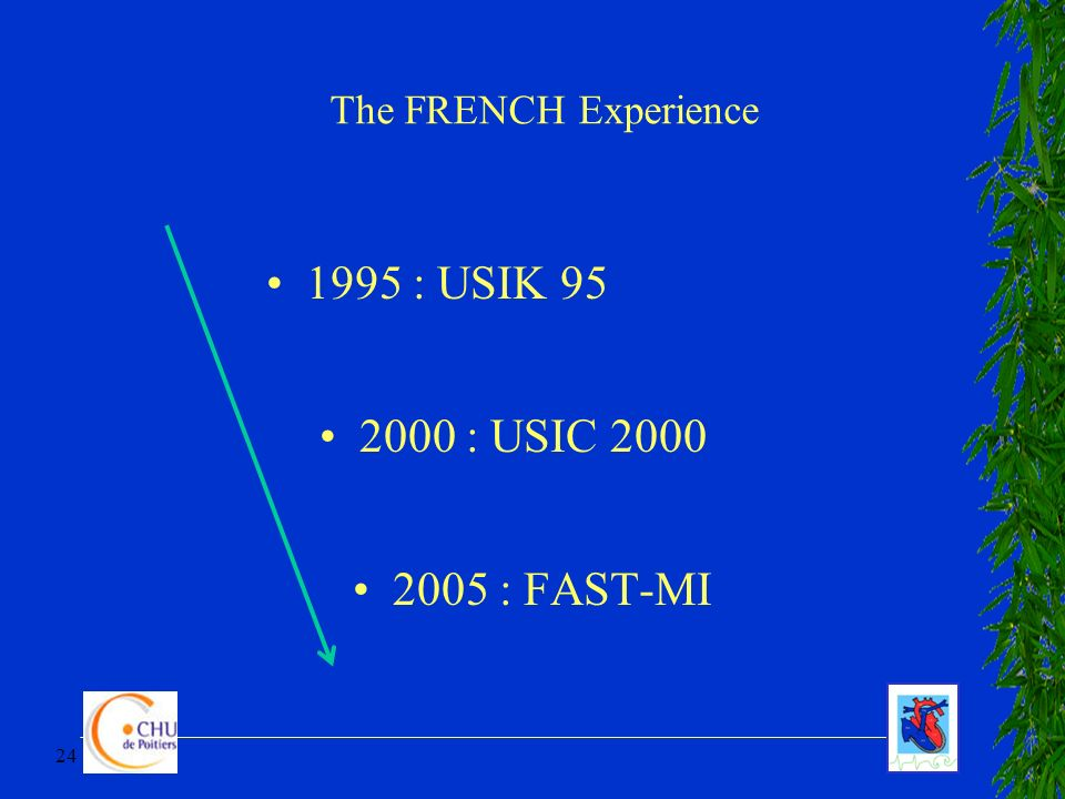 1995 : USIK 95 2000 : USIC 2000 2005 : FAST-MI The FRENCH Experience