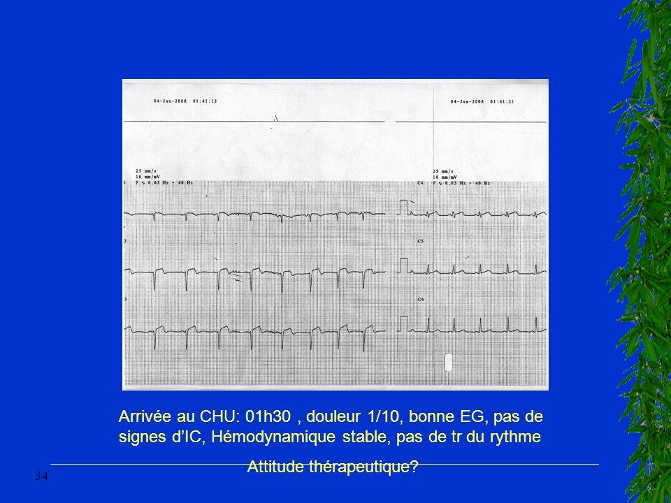 Arrivée au CHU: 01h30 , douleur 1/10, bonne EG, pas de signes d'IC, Hémodynamique stable, pas de tr du rythme