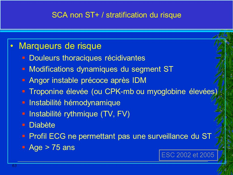 SCA non ST+ / stratification du risque