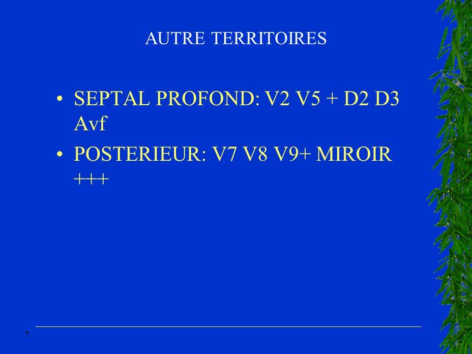 SEPTAL PROFOND: V2 V5 + D2 D3 Avf POSTERIEUR: V7 V8 V9+ MIROIR +++