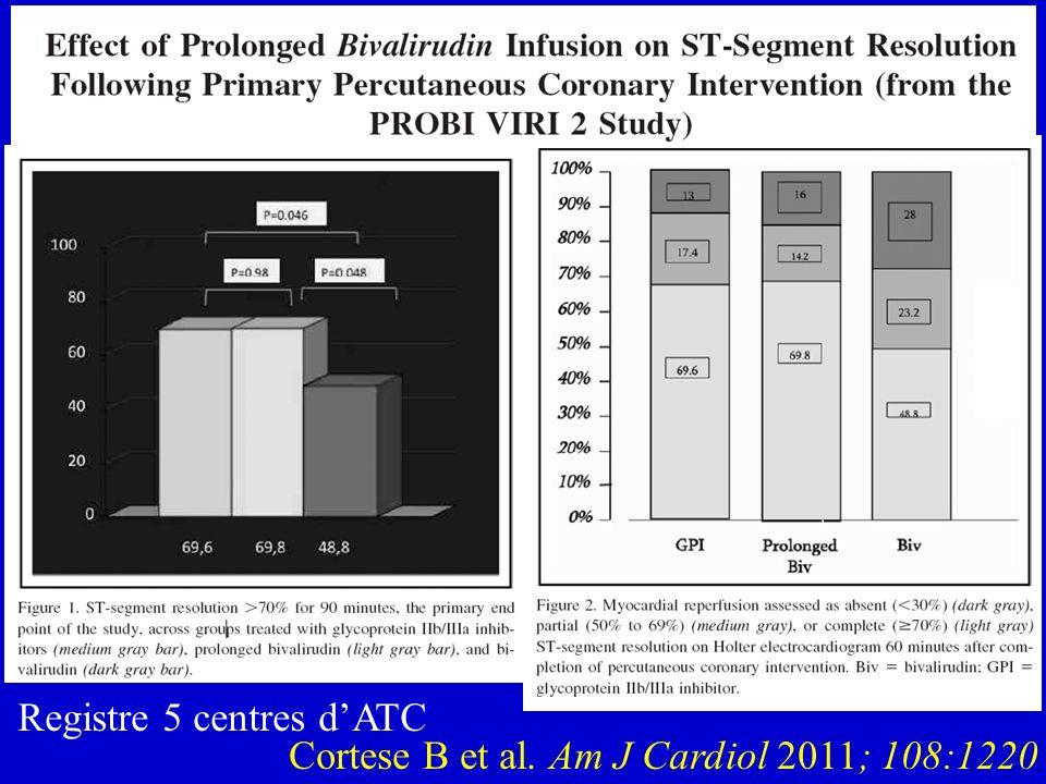 Registre 5 centres d'ATC Cortese B et al. Am J Cardiol 2011; 108:1220