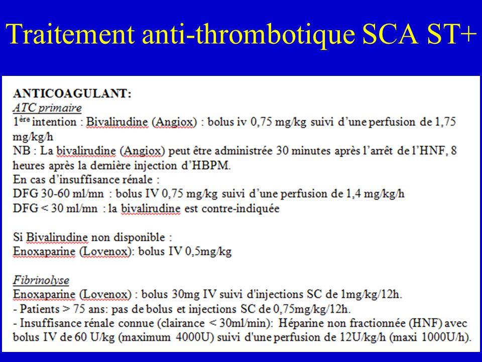 Traitement anti-thrombotique SCA ST+