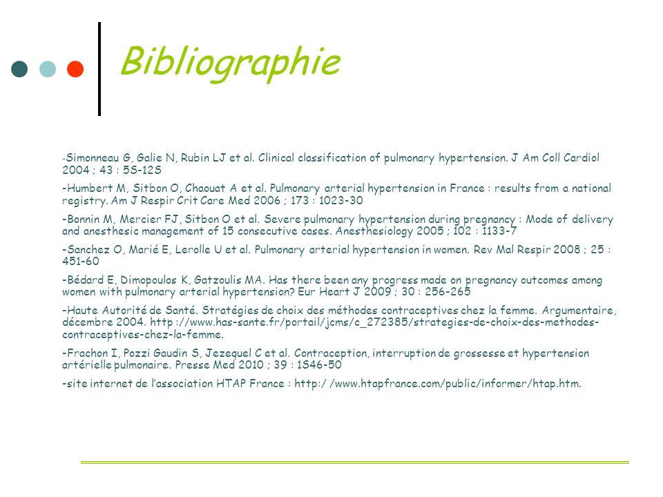 Bibliographie-Simonneau G, Galie N, Rubin LJ et al. Clinical classification of pulmonary hypertension. J Am Coll Cardiol 2004 ; 43 : 5S-12S.