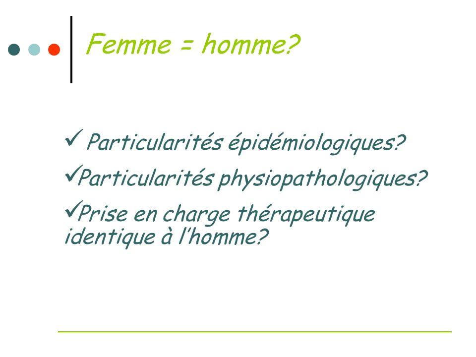 Femme = homme Particularités épidémiologiques