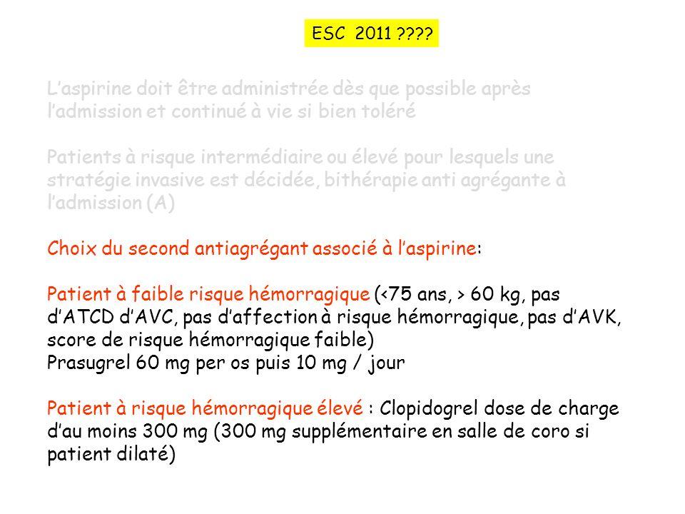 ESC 2011 L'aspirine doit être administrée dès que possible après l'admission et continué à vie si bien toléré.