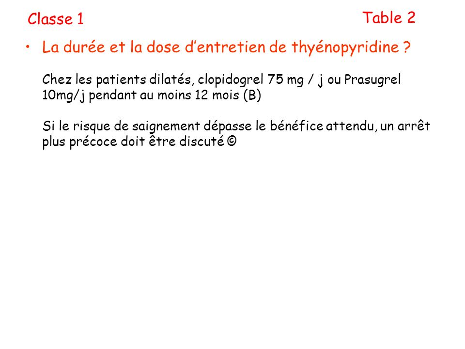 Classe 1 Table 2.