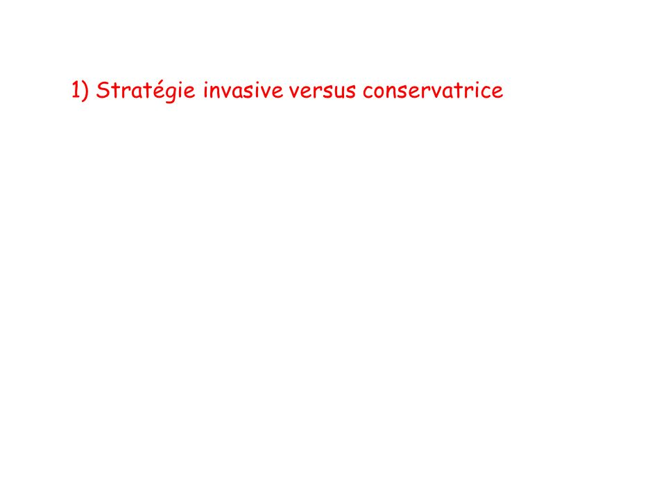 1) Stratégie invasive versus conservatrice