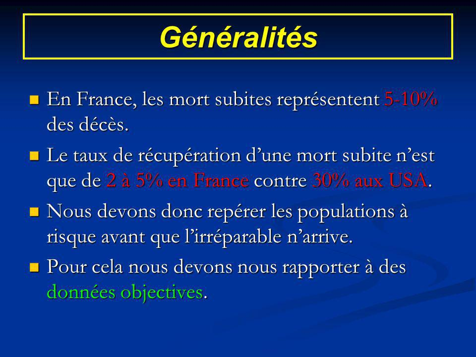 Généralités En France, les mort subites représentent 5-10% des décès.