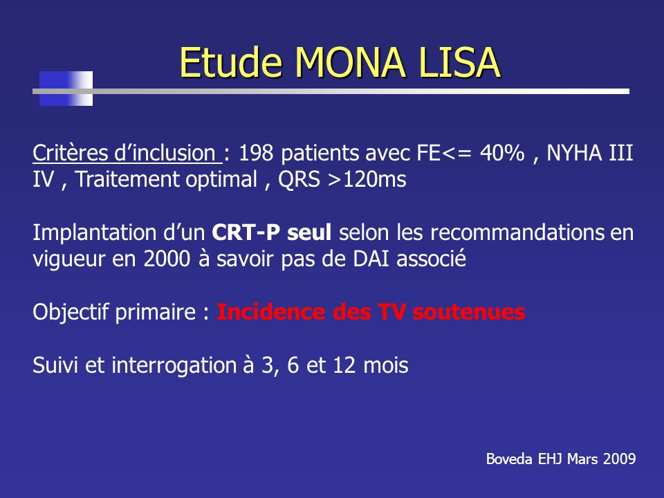 Etude MONA LISA Critères d'inclusion : 198 patients avec FE<= 40% , NYHA III IV , Traitement optimal , QRS >120ms.